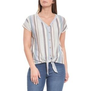 Rachel Zoe 100% Linen Striped Tie Front Top